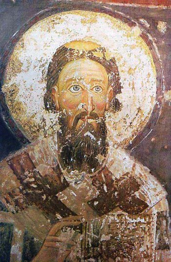 Saint Sava, fresco from Mileševa