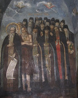 Лик преподобных отец (фреска, Киево-Печерская лавра)