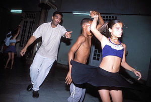 A salsa instructor trains youngsters in Camagu...