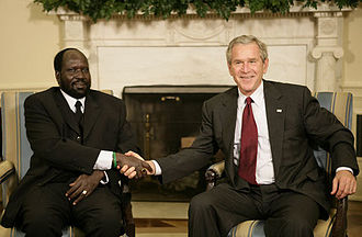 Salva Kiir Mayardit - Kiir with United States President George W. Bush