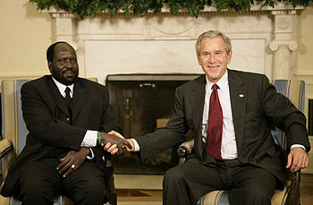 President George W. Bush welcomes Salva Kiir, ...
