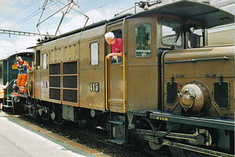 Rhaetian Railway Ge 6/6 I - Ge 6/6I 415 after the arrival on 28 June 2003 of a special train in Samedan.