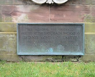 Tata Chemicals Europe - World War I memorial plaque, now at Sandbach Cemetery