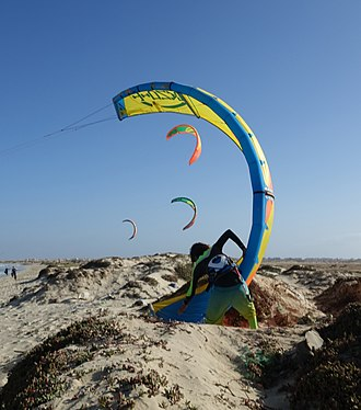 Sports in Sal, Cape Verde - Kite surfing at Costa da Fragata, Sal is being the common of kite surfing in Cape Verde