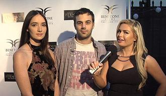 Sara Malakul Lane - Sara Malakul Lane with Jared Cohn, being interviewed about Pernicious