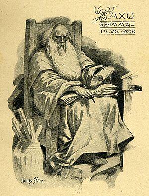 Saxo, etching by the Danish-Norwegian illustrator Louis Moe (1857 – 1945)
