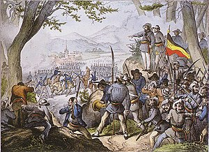 Baden Revolution - Contemporary lithograph, from the perspective of the revolutionaries, of the Battle of Kandern on 20 April 1848, at which the Hecker Uprising was put down