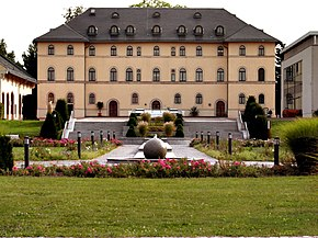 The rear façade of the palace in Lichtenstein.