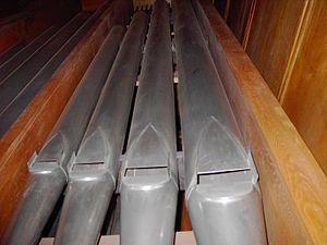 Organ pipe - A set of flue pipes of a diapason rank in the Schuke organ in Sofia, Bulgaria.