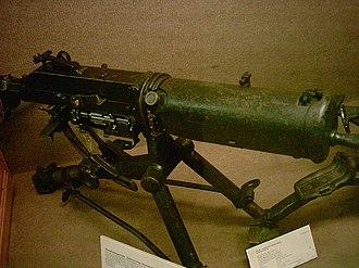 Schwarzlose machine gun - The 07/12 machine gun with water jacket cover.