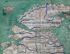 Scotland in the Middle Ages - Scotland from the Matthew Paris map, c. 1250