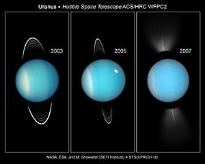 Climate of Uranus - HST images show changes in the atmosphere of Uranus as it approaches its equinox (right image)