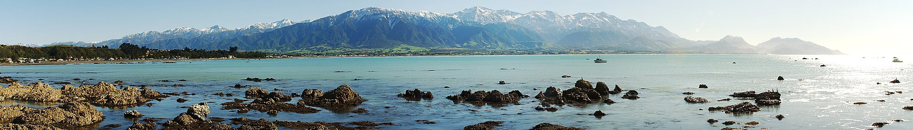 A panorama of the Seaward Kaikouras from Kaikoura, New Zealand