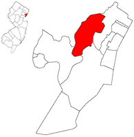 Location of Secaucus within Hudson County. Inset: Location of Hudson County highlighted in the State of New Jersey.