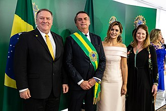 Mike Pompeo - Pompeo with Brazilian President Jair Bolsonaro, who is widely considered to be the most pro-American candidate in Brazil since the 1980s.