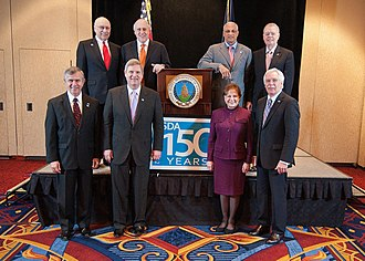 United States Secretary of Agriculture - (Back L to R) Yeutter, Glickman, Espy, and Block. (Front L to R) Johanns, Vilsack, Veneman, and Schafer.