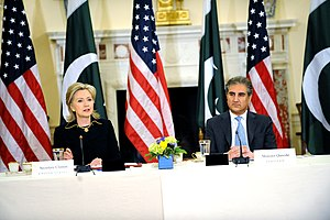 Shah Mehmood Qureshi - U.S. Secretary of State Hillary Rodham Clinton and Pakistani Foreign Minister Makhdoom Shah Mahmood Qureshi listen during the U.S. Pakistan Strategic Dialogue meeting.