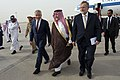Secretary of Defense Chuck Hagel walks with Prince Fahd bin Abdullah, Deputy Minister of Defense, and U.S. Ambassador to the Kingdom of Saudi Arabia Jim Smith, after arriving in Riyadh, Saudi Arabia, April 23, 2013.jpg