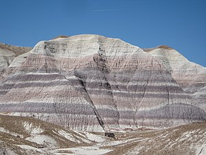 Medicinal clay - A mountain of clay — Petrified Forest National Park, Arizona. The white bands represent pure bentonite clay.