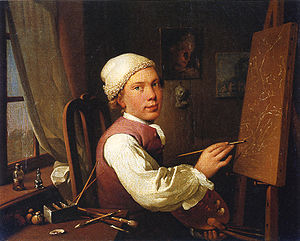 Jens Juel (painter) - Self-Portrait at the Easel (1766)