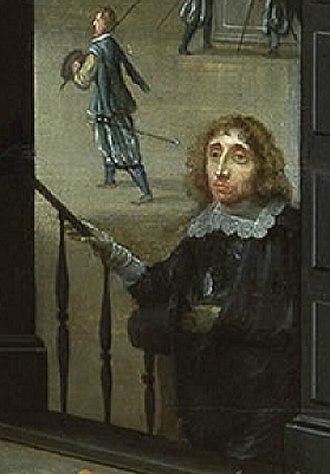 Willem van Haecht - Self-portrait in doorway of one of his gallery paintings