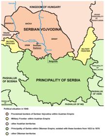 Vojvodina-Hungarian Crown land (1699–1849)-Serbia and Vojvodina 1848