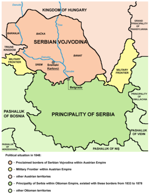 History of modern Serbia - Serbian Vojvodina and Principality of Serbia in 1848