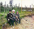Sergei Prokudin-Gorskii and two men in Cossack clothes, Murmansk 1916 (by Sergei Prokudin-Gorskii).jpg