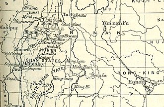 Mong Mao - Mong Mao in a 1910 map including the Chinese Shan States