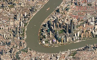 Huangpu River - Satellite image of the Huangpu River passing through the Pudong district