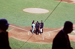 Gene Mauch - Mauch (left) managing the Montreal Expos in July 1969 at Shea Stadium, New York.