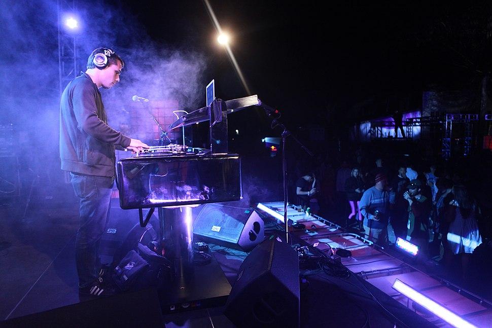 Shepard Fairey DJing - shot by Kris Krug