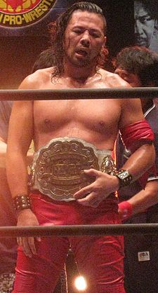 Record setting five-time and longest reigning former champion Shinsuke Nakamura with the IWGP Intercontinental Championship belt.