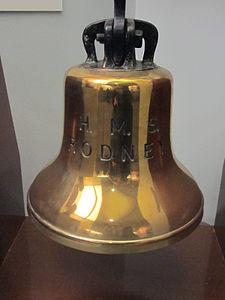 Ship's bell from HMS Rodney (1925), Merseyside Maritime Museum.jpg