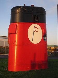Ship's funnel, Bromborough.JPG
