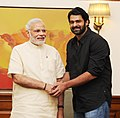 Shri Prabhas, lead actor, Bahubali, calling on the Prime Minister, Shri Narendra Modi, in New Delhi on July 26, 2015.jpg