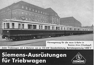 Siemens-Schuckert Orenstein & Koppel - Siemens advertisement showing the cars outside a factory in Germany (c.1934).