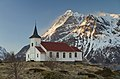 Sildpollnes Church and Higravstindan in evening, Austvågøya, Lofoten, Norway, 2015 April.jpg