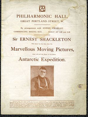 Philharmonic Hall, London - Programme for the film of Shackleton's Antarctic expedition