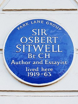Sir osbert sitwell bt ch author and essayist lived here 1919 63
