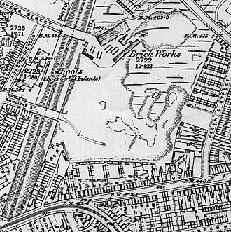St Andrew's (stadium) - 1890 map shows wet, sloping industrial site chosen for new ground.