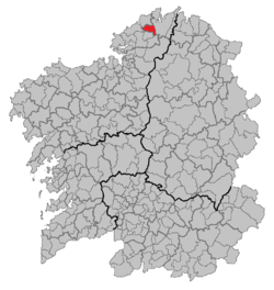 Location of Cerdido within Galicia