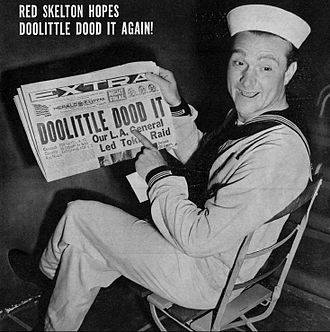 "Red Skelton - Skelton with ""Doolittle Dood It"" newspaper headline, 1942"