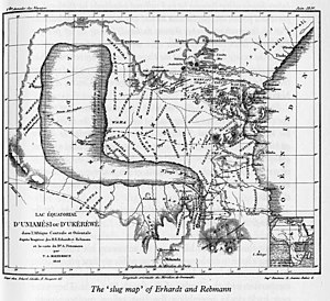 Johannes Rebmann - The Slug Map, illustrating some of the missionaries' findings