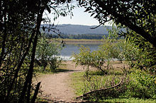 A sandy path leads through the woods to a lake. Beyond the lake is a line of trees. A low range of hills is visible in the far distance.