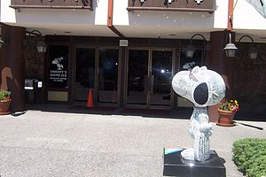 """Snoopy's Home Ice - Snoopy's """"Joe Cool"""" persona stands outside """"Snoopy's Home Ice""""."""