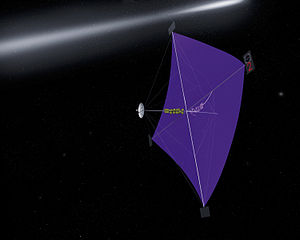 Solar sail - NASA illustration of the unlit side of a half-kilometre solar sail, showing the struts stretching the sail.