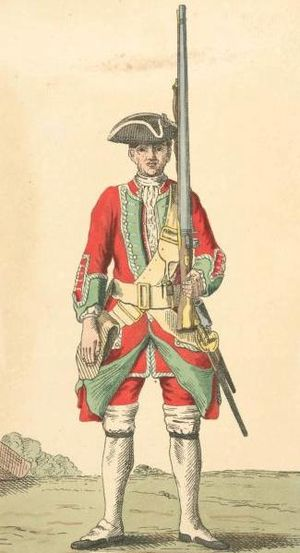 36th (Herefordshire) Regiment of Foot - Image: Soldier of 36th regiment 1742