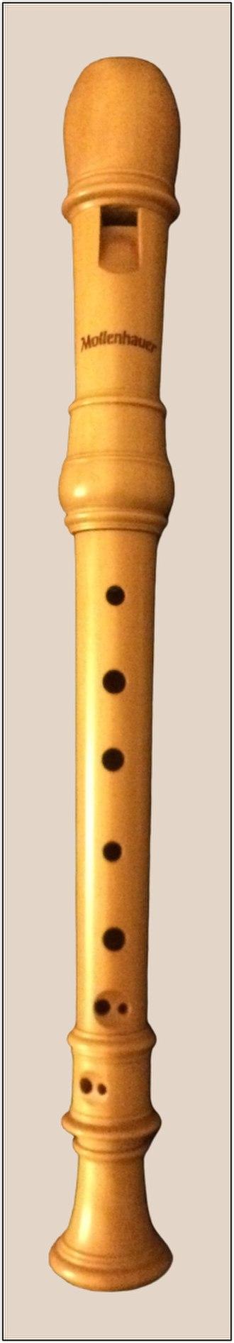 """Soprano recorder - A three-part soprano recorder in castello or zapatero """"boxwood""""."""