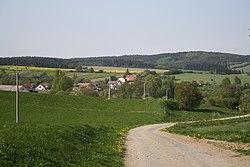 South overview of Štěměchy from hill, Třebíč District.jpg